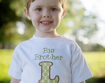 Big Brother Shirt - Big Brother Initial Shirt - Big Bro Shirt - Big Brother Little Brother Shirts