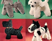 Crochet Dog Patterns from the 50's  a Scottie, Wirehair Terrier, Poodle instant digital download