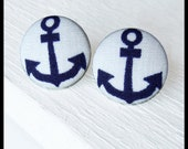 Anchor Fabric Button Earrings