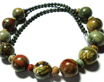 Picasso Jasper Necklace Wearable Art Large Round Jasper Bead Necklace with Sterling