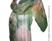 Painted Silk scarf  pink green peonies