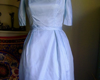 Vintage 1950s Full Skirt Party Dress Gown Ice Blue with Tulle Underlay