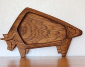 Abstract Bull Tray - Mid Century Modern Serving - Handmade Wood Ecuador Signed by Craftsman  -  Folk Art