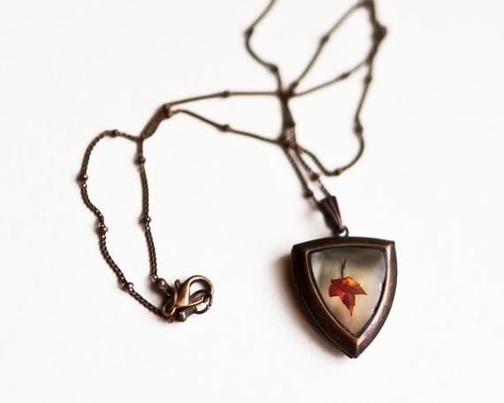 SALE, Red Leaf Art Locket Necklace / Photo Locket / Art Locket / Unique / Different