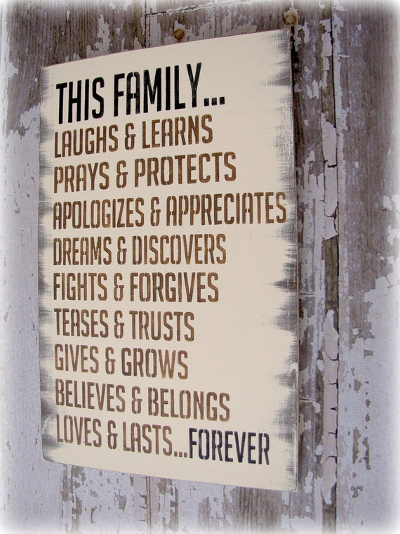 This Family Loves....Small- Antiqued Plank Typography Sign-Cottage Style-Antique White and Chocolate Brown
