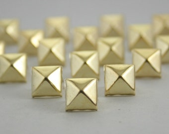 100 pcs. Gold Pyramid Prongs Studs Rivets Decorations Findings 9 mm. CKSPG9
