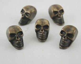 5 pcs.Zinc Antique Brass Skull Smile Conchos Rivet Stud Buttons Decoration 13x21 mm. SK RBR13 DH