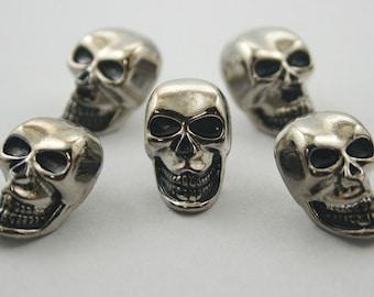 5 pcs. Silver Zinc Skull Head Rivets Studs Decorations Findings 13 mm. SK RN13 DH