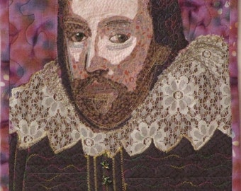 Customized Art Quilt Portrait Wall Hanging of Shakespeare