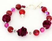 Magenta Glass Bead Layering Bracelet. Fushia Impression Jasper and Artisan Fiber Beads. Glass Beaded Jewelry.
