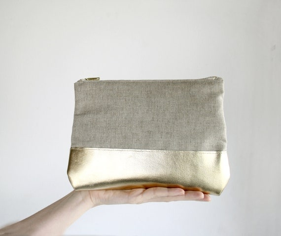 BOGO SALE Gold Leather Clutch, Natural linen clutch, zipper clutch with Iphone sleeve, color block purse, evening clutch