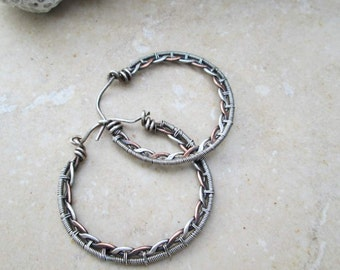braided hoop earrings in mix metal