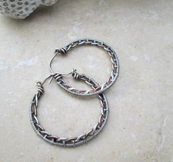 braided hoop earrings in mix metal
