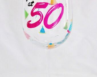 Hand Painted 50th Birthday Wine Glass by Mimossa Studio LLC
