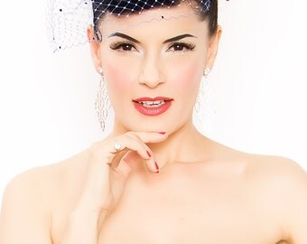 Royal Blue Birdcage Veil Blusher -rhinestone dotted-