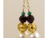 White Pearl, Garnet & Emerald Crystal with Gold Cloisonne Bead Earrings