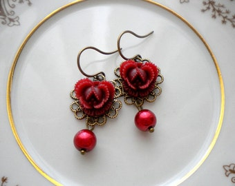 Burgundy Earrings Flower Earrings Dangle Pearl Earrings Flower Dangle Earrings Romantic Jewelry Vintage Style Maroon Earrings Flower Jewelry
