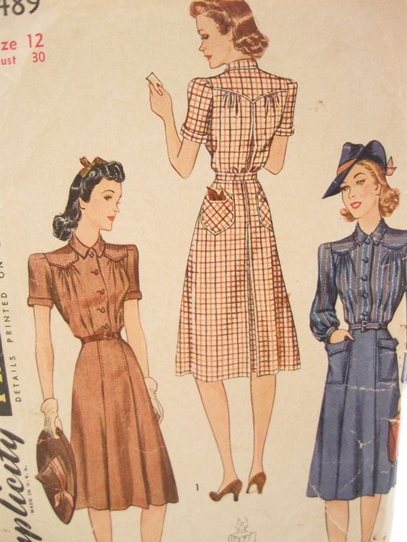 Simplicity 3489 1940s Dress Vintage Sewing Pattern Bust 30