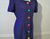 Vintage 80s 90s purple power dress with colorful buttons - sz Medium - FREE shipping worldwide