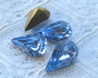 13x8 Swarovski Rhinestone Light Sapphire Blue Pear Shape Quantity 4