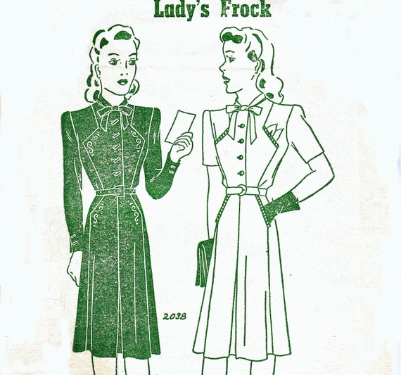 1940s Vintage Sewing Pattern RARE Pauline 2038 Dress with front interest  Bust 36