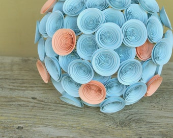 Paper Flower Bridal Bouquet in Aqua and Peach, Large Handgrown Wedding Bouquet in Seafoam and Peach