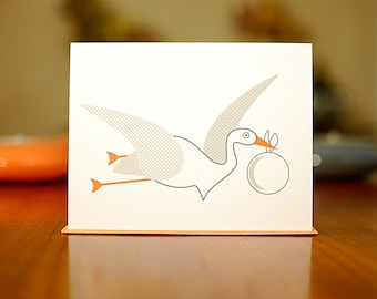 Speedy Stork New Baby Congratulations Card on 100% Recycled Paper