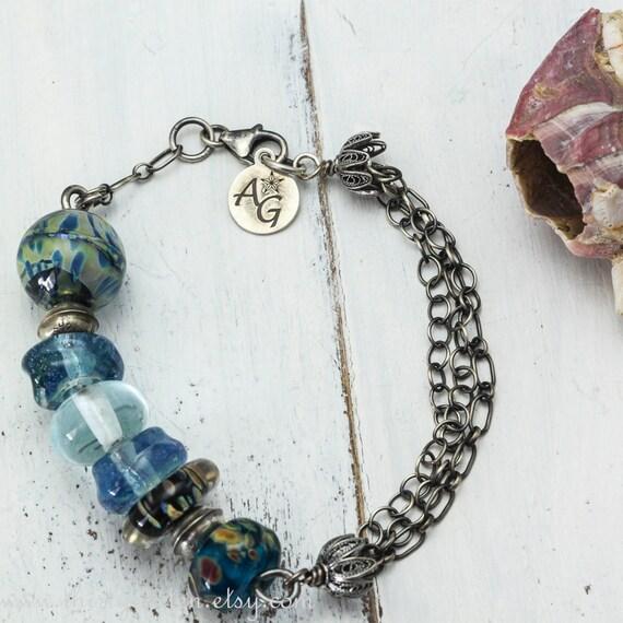 Blue Lampwork Glass Bracelet
