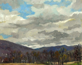 April Sky, Berkshires. Large Realist Oil Painting on Linen Canvas, 28x22 American Impressionist Landscape, Signed Original Fine Art