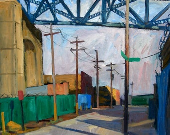 Kosciuszko Bridge Shadows. NYC Oil Painting Landscape, Large Realist Oil on Canvas, 24x18 New York City Urban Impressionism, Signed Original