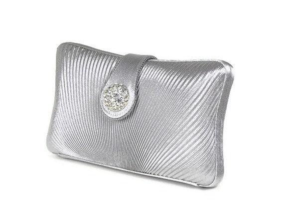Silver Clutch, Silver Bridal Clutch, Bridesmaids Clutch, Art Deco Clutch, Minaudiere, Rhinestone Clutch, Bridal Accessories