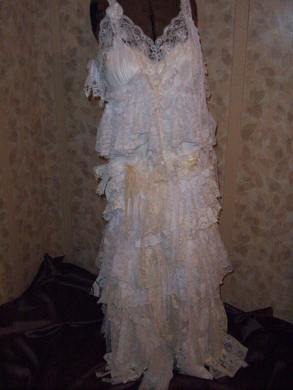 Items Similar To Rag Doll Wedding Dress Fantasy Shabby Chic Boho Fairy S