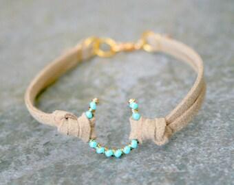 Turquoise Blue Horseshoe Cowgirl Western Lucky Bracelet