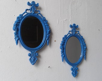Vintage Wall Mirror Set of Two in Periwinkle, Blue Home Decor, Mirror Decorating Ideas
