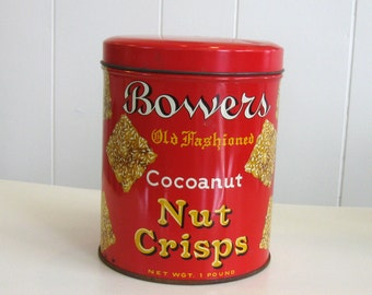 Vintage 1950s Bower's Old Fashioned Cocoanut Nut Crisps Tin - 1 pound size - Red and Yellow - midcentury cookie tin