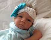 Adorable....0 to 3 Month & 3 to 6 Month sizes.... White Headband with Oversized Aqua Flower...Crochet.... Photo Prop...READY  TO  SHIP