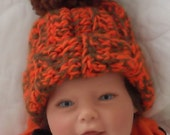 Brown and Orange....CLEVELAND.... Fall & Winter Beanie.... 3 month size.... Boy or Girl...Ready to Ship