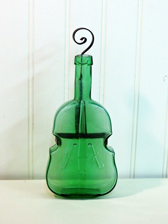 Green Glass Fiddle Violin Bottle With Wall Hangar
