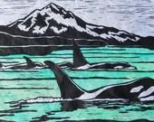 Orca - Original Linocut Print