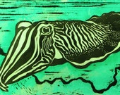 Cuttlefish - Original Linocut Print (Green, Red or Black and White)