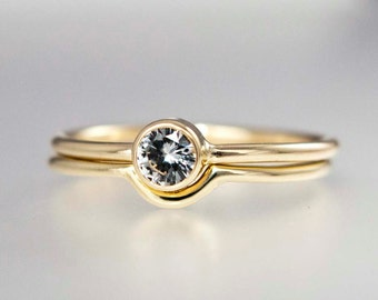 Gold Engagement and Wedding Band Set - White Sapphire, Moissanite or Diamond with Matching Contour Band in 14k yellow or white gold