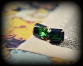 Bright Emerald Green Rhinestone Stud Earrings - Raw Brass - Cushion Cut - Gold Plated Posts - For Mom - Bridesmaid Jewelry