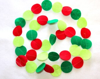 Felt Circle Garland - Merry in Red and Green