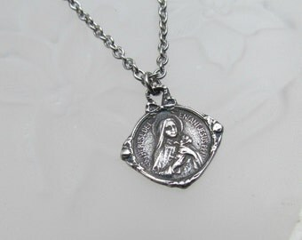 St Therese medal Sterling Silver Catholic Saint Vintage style Antique Reproduction