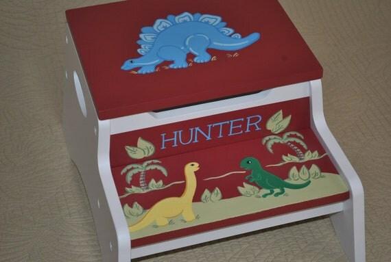Kids Personalized 2 Step Stool and Storage Bench Dinosaur