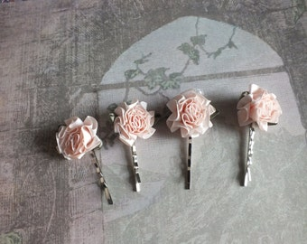 Satin Flower Hair Pins Hair Accessory Bridal Veil Alternative for Bridesmaids or Prom