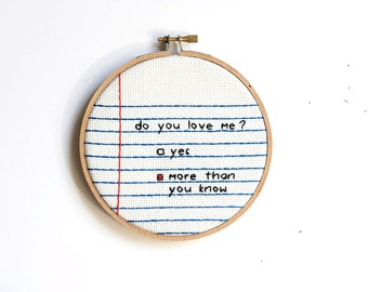 Notebook Needlepoint Paper Wall Hanging Gift : do you love me