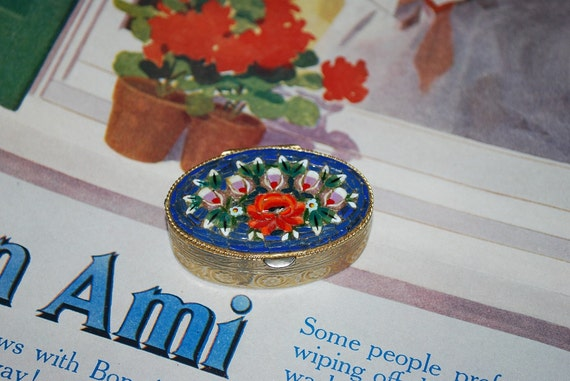 Vintage Micro Mosaic Pill Box - Glass Tile Rose Floral on Blue - 1960's