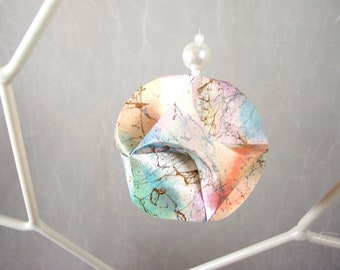 Christmas Ornament Pastel Opal Hand Made Paper Sculpture OOAK Hand decorated Paper