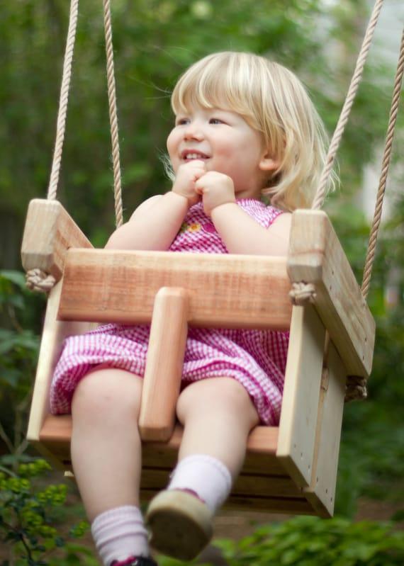 Baby Swing or Toddler Swing - Cedar Handmade Porch or Tree Swing - Child's Swing - Kids Swing - Wooden Swing